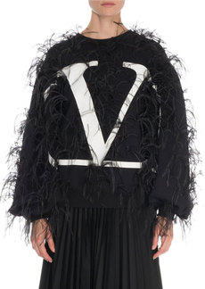 Valentino Ostrich Feather Logo Jersey Sweatshirt