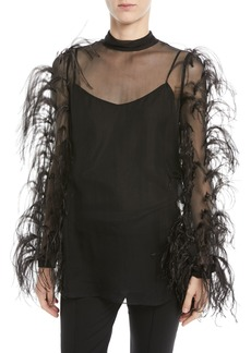 Valentino Ostrich-Feather Long-Sleeve Silk Chiffon Blouse