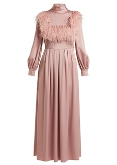 Valentino Ostrich feather-trim cady gown
