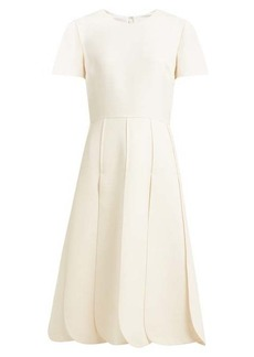 Valentino Overlap-pleat wool-blend dress