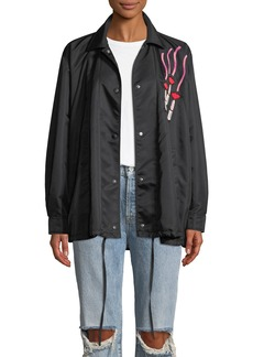 Valentino Oversized Snap-Front Nylon Coat w/ Lipstick Embroidered Patch