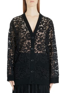 Valentino Oversized Wool Lace Cardigan