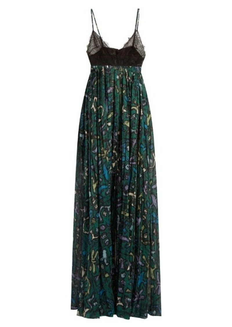 Valentino Panama-print cotton and lace gown
