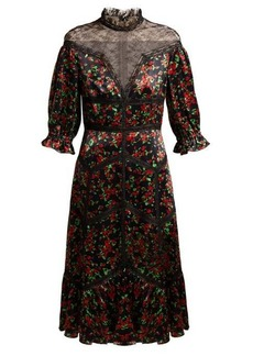 Valentino Panelled floral-print satin dress