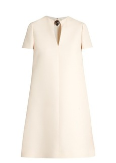 Valentino Panther-embellished wool-blend crepe dress