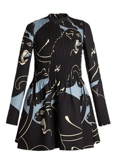 Valentino Panther-print pintucked mini dress