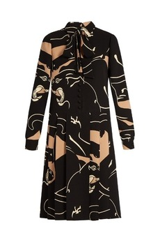 Valentino Panther-print silk-cady dress