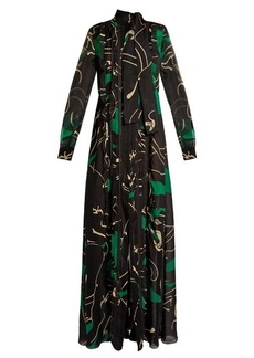 Valentino Panther-print silk-georgette gown