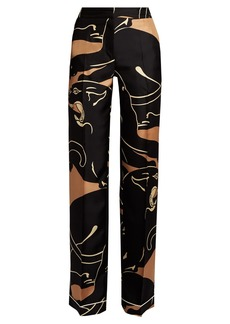 Valentino Panther-print wide-leg trousers