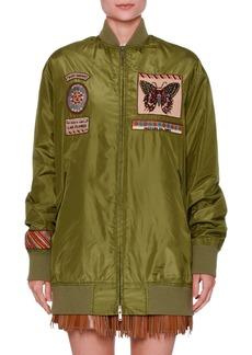 Valentino Patch-Embellished Taffeta Bomber Jacket