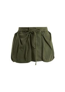 Valentino Patch-pocket tie-waist cotton-denim mini skirt