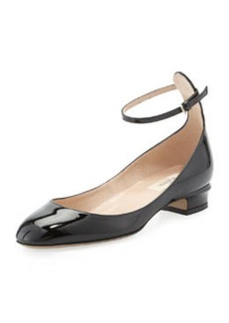 Valentino Patent Low-Heel Ballerina Pump, Black