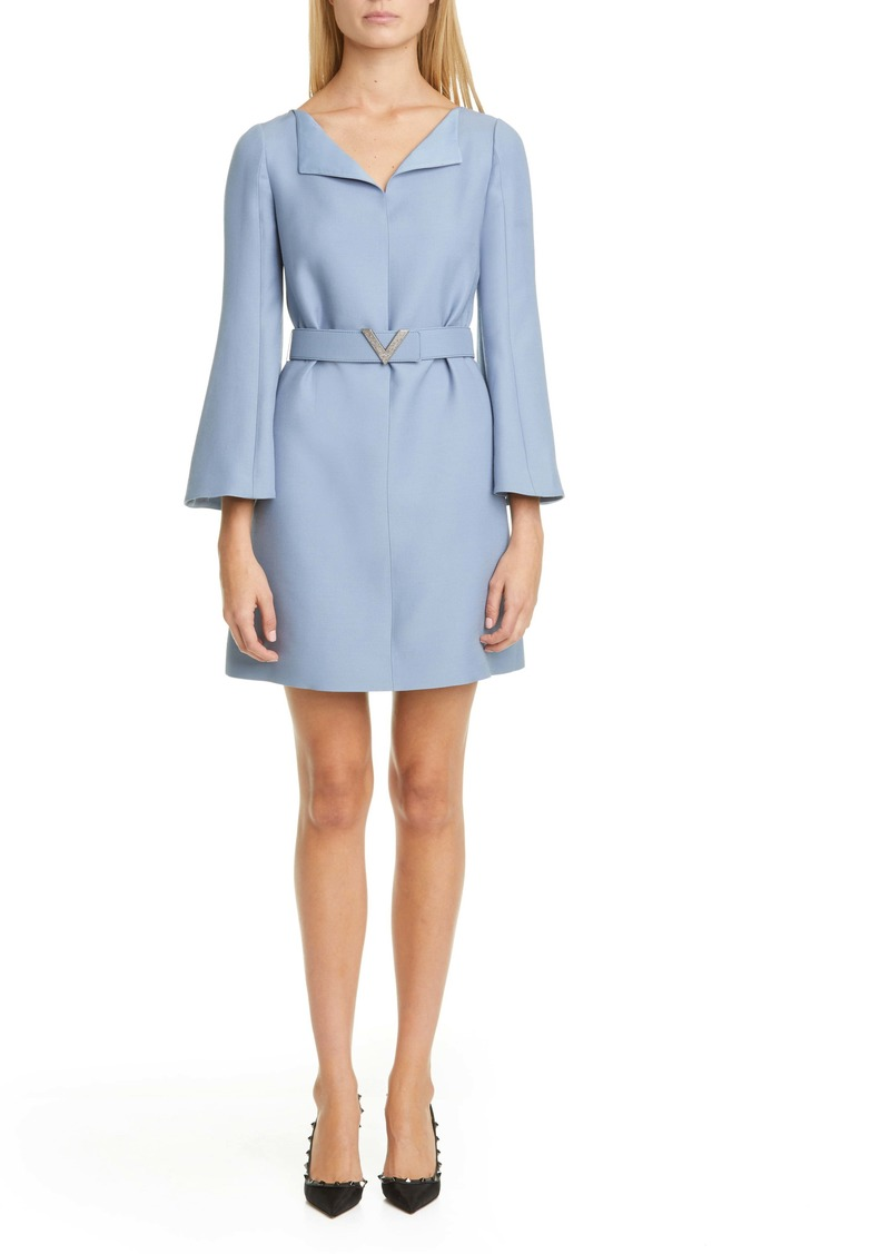 Valentino Pavé-V Belted Wool & Silk Crepe Couture Minidress