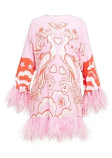 Valentino Peacock-print feather-trimmed silk dress