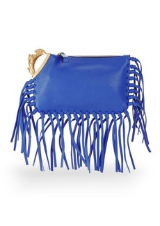 VALENTINO GARAVANI Pebbled Leather Fringed Clutch