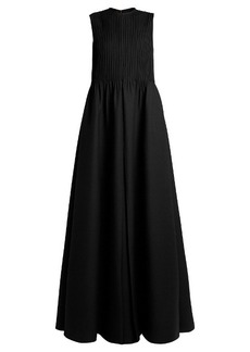 Valentino Pintuck-pleated wool-blend gown