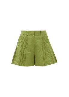 Valentino Pintucked cotton-blend faille shorts