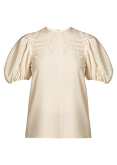 Valentino Pintucked silk crepe de Chine top