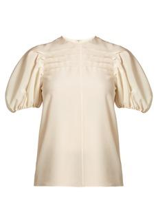 Valentino Pintucked silk crepe de Chine top