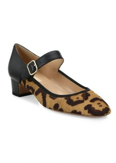 Valentino Plain Leopard-Print Calf Hair & Leather Mary Jane Pumps