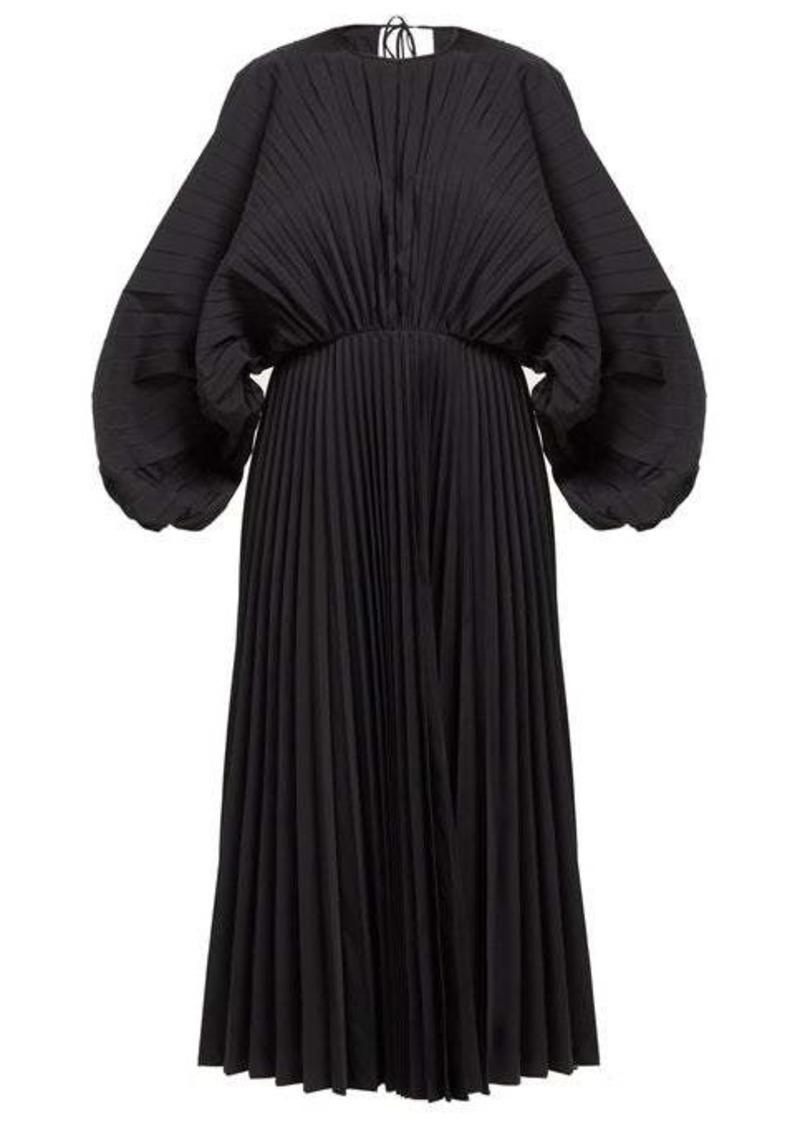 Valentino Pleated cotton-twill dress