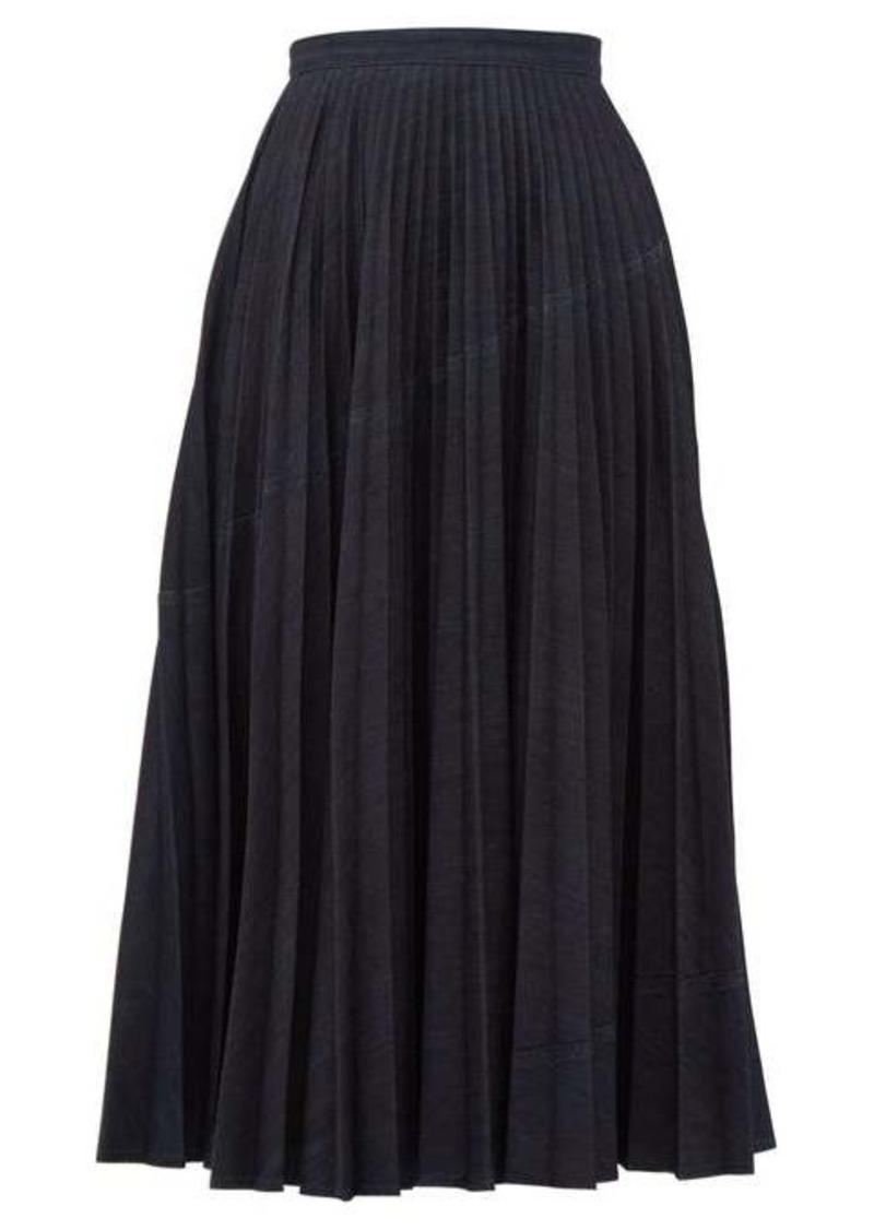 Valentino Pleated denim skirt
