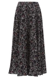 Valentino Pleated floral-print silk-crepe midi skirt