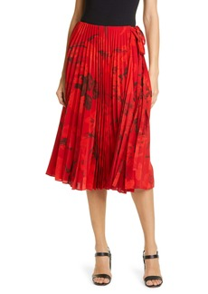 Valentino Pleated Floral Print Silk Crêpe de Chine Wrap Skirt