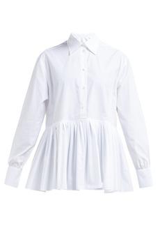 Valentino Pleated-hem cotton-blend poplin shirt