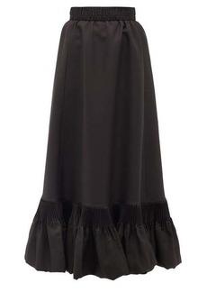 Valentino Pleated-hem silk-gazar skirt