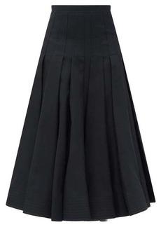 Valentino Pleated high-rise wool-blend midi skirt