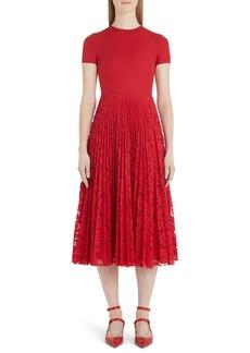 Valentino Pleated Lace Midi Dress