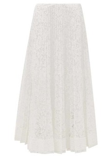 Valentino Pleated lace midi skirt