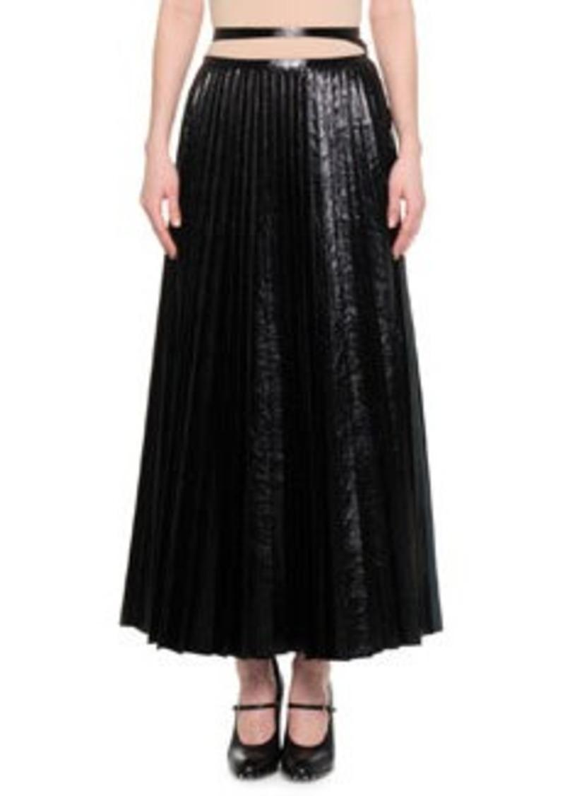 Valentino Pleated Leather Tie-Waist Skirt