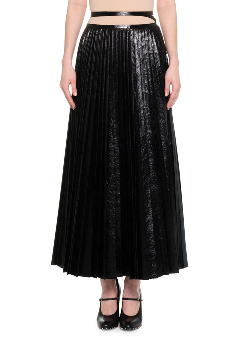 Valentino Pleated Leather Tie-Waist Skirt