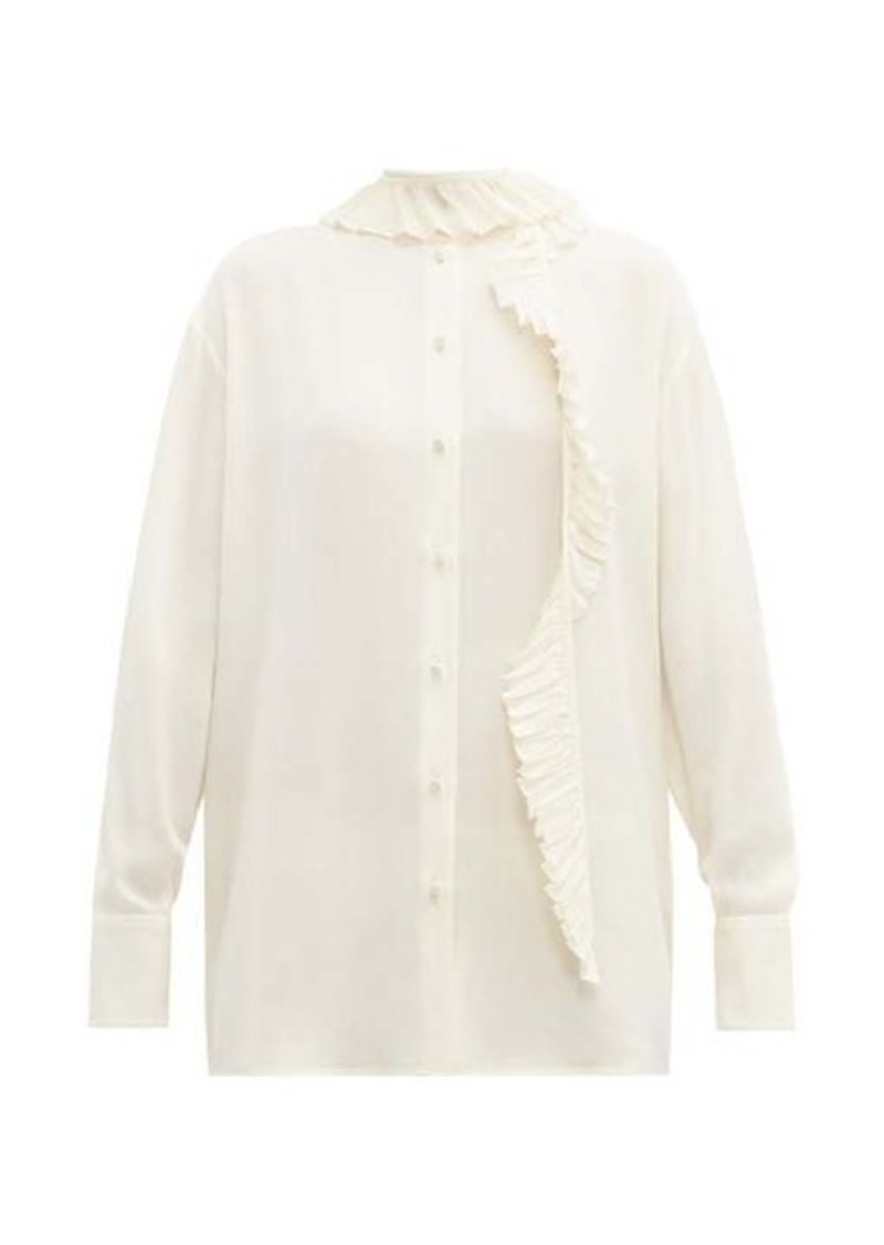 Valentino Pleated ruffle-trim silk-crepe blouse