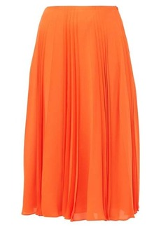 Valentino Pleated silk-georgette midi skirt