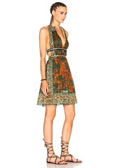 Valentino Pleated V Neck Dress with Leather Painted Details