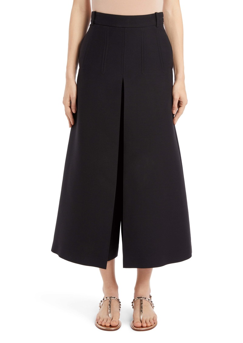 Valentino Pleated Wide Leg Wool & Silk Crepe Couture Pants