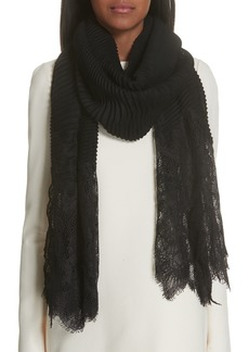 Valentino Plissé Pleated Lace Trim Scarf