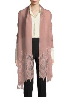 Valentino Plisse Lace-Trim Shawl