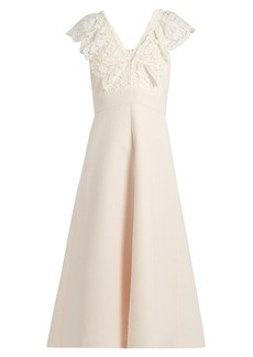 Valentino Plunging guipure-lace and cady midi dress