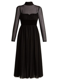Valentino Polka-dot fil-coupé silk-blend gown