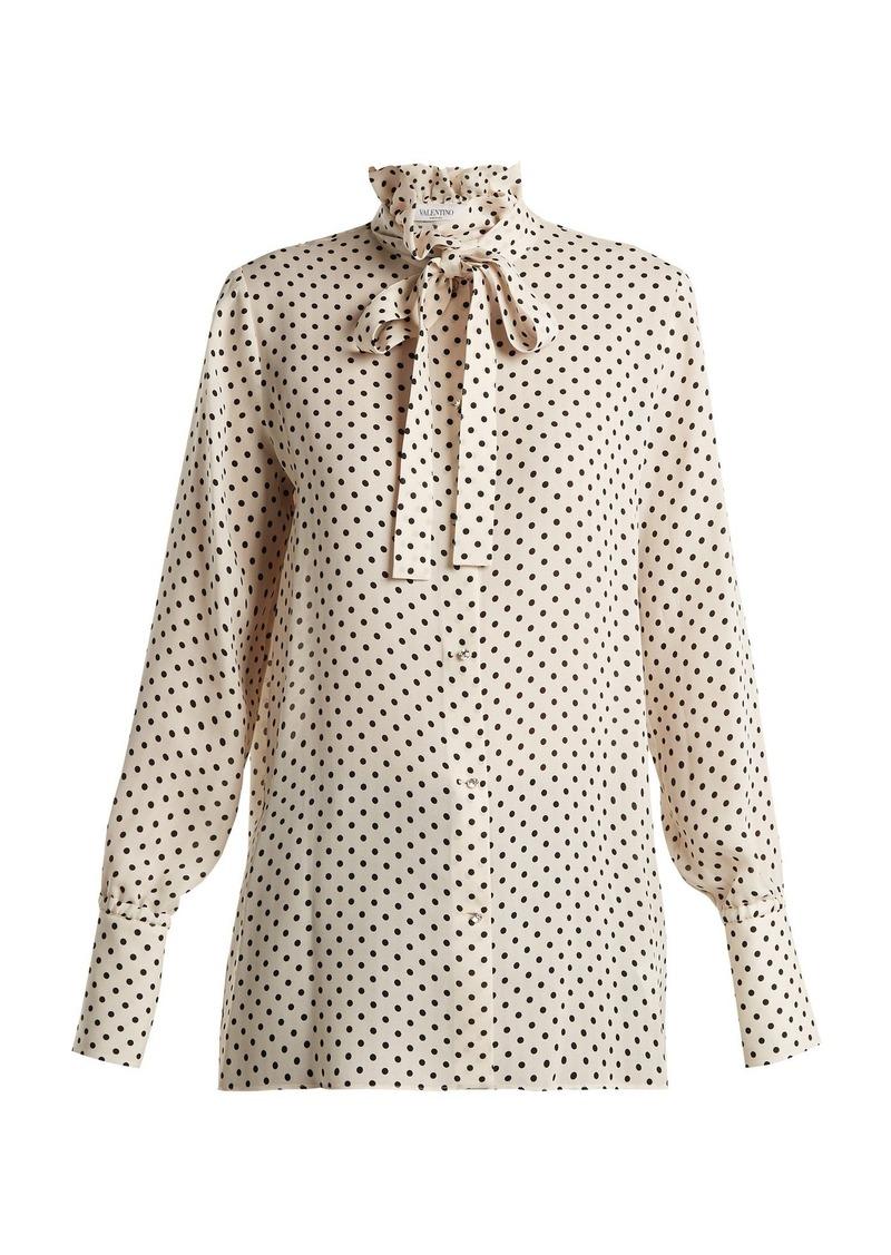 Valentino Polka-dot print silk-georgette blouse