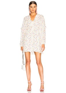 Valentino Polka Dot Ruffle Trim Mini Dress