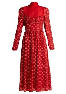 Valentino Polka-dot silk-georgette gown