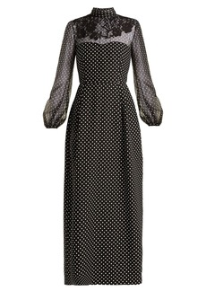 Valentino Polka-dot wool and silk-blend gown