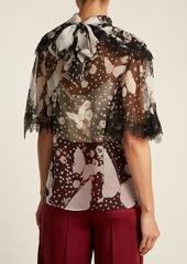 Valentino Pop Butterflies-print silk-chiffon blouse