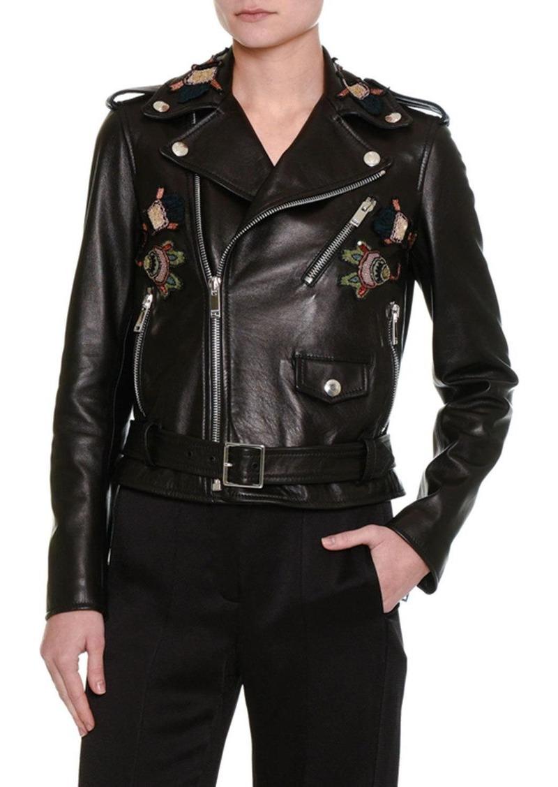Valentino Valentino Pop Flower Embroidered Leather Moto Jacket