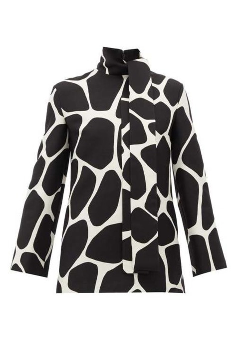 Valentino Pussy-bow giraffe-print wool-blend top